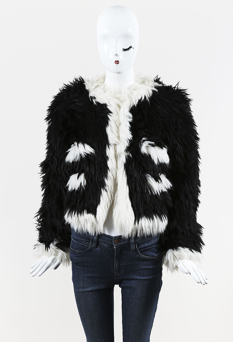 VINTAGE  Boutique Fall 1994 Black & White Faux Fur Cropped Jacket