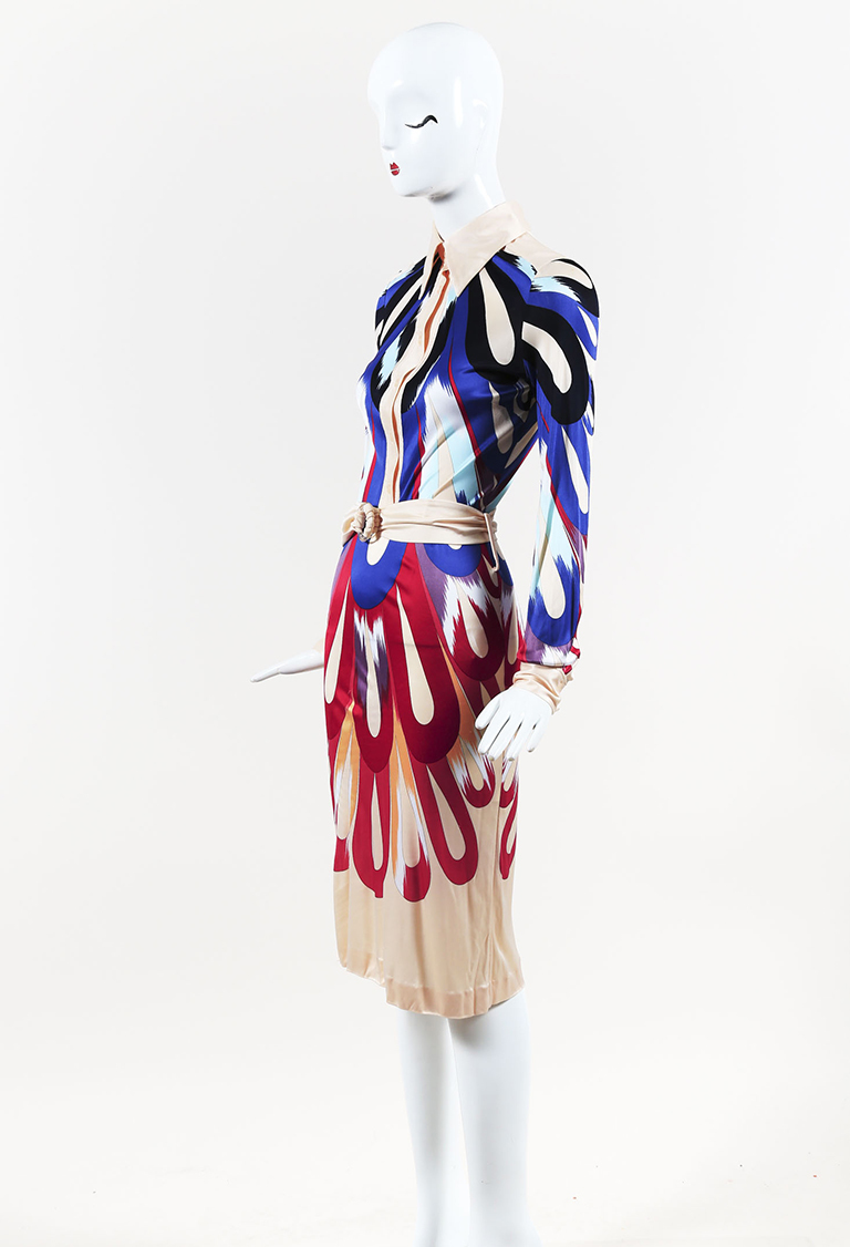Cream Multicolor Stretch Jersey Printed Button Down Long Sleeve Dress