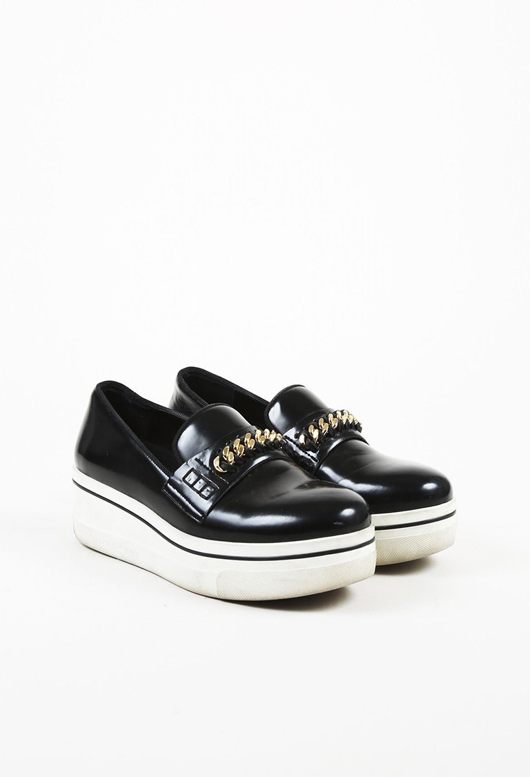 "Black & White Vegan Leather Enchained ""Binx"" Loafers"