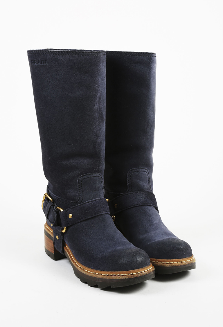 Sport Black Suede Gold Tone Buckled Knee High Riding Boots