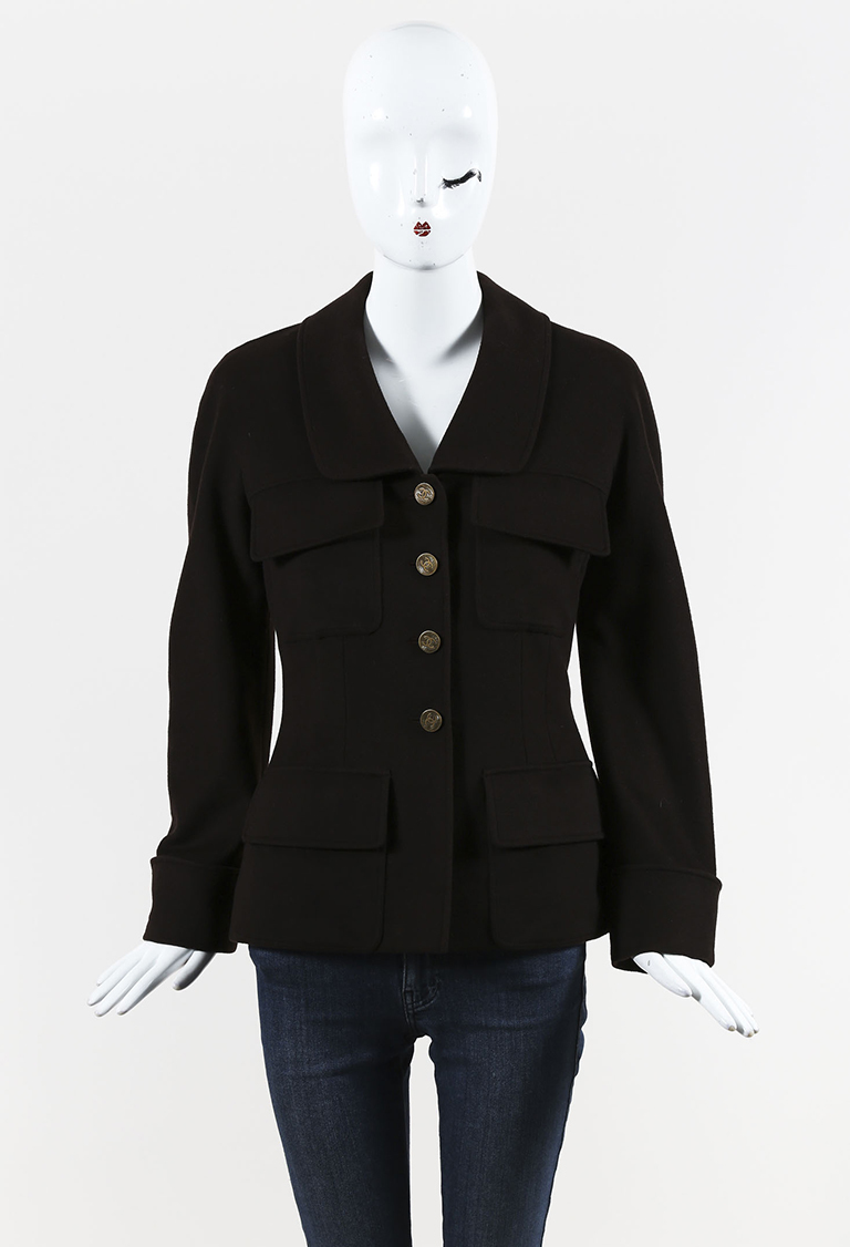 VINTAGE  Fall 1998 Brown Cashmere & Silk Buttoned Front Jacket