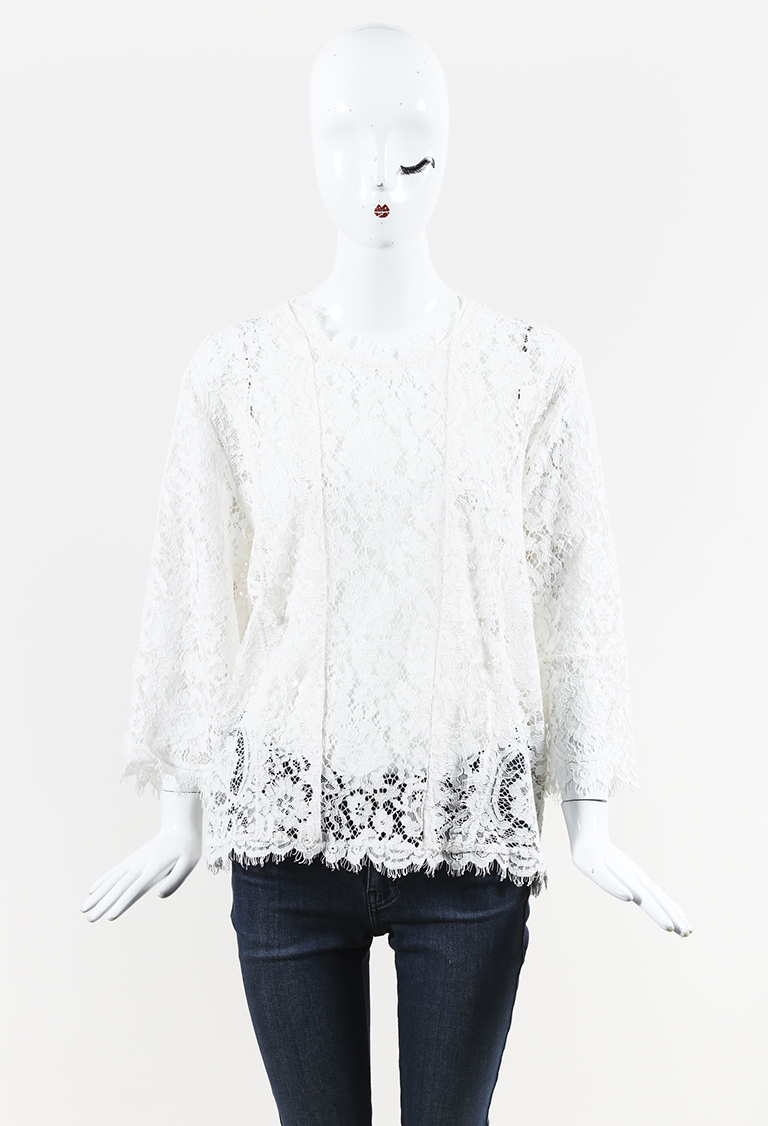 White Floral Lace Bell Sleeve Blouse