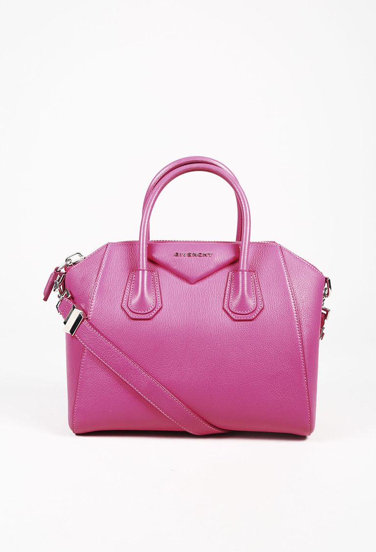 "Hot Pink Grained Calfskin ""Small Antigona"" Satchel Bag"