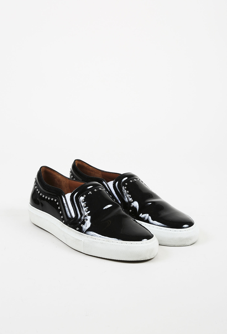 Black Patent Leather Silver Tone Studded Slip On Sneakers
