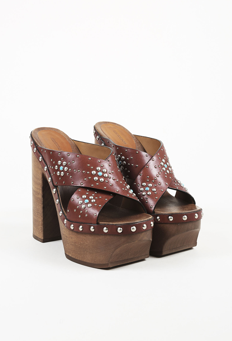 Mahogany Brown Leather Studded Platform Sandals