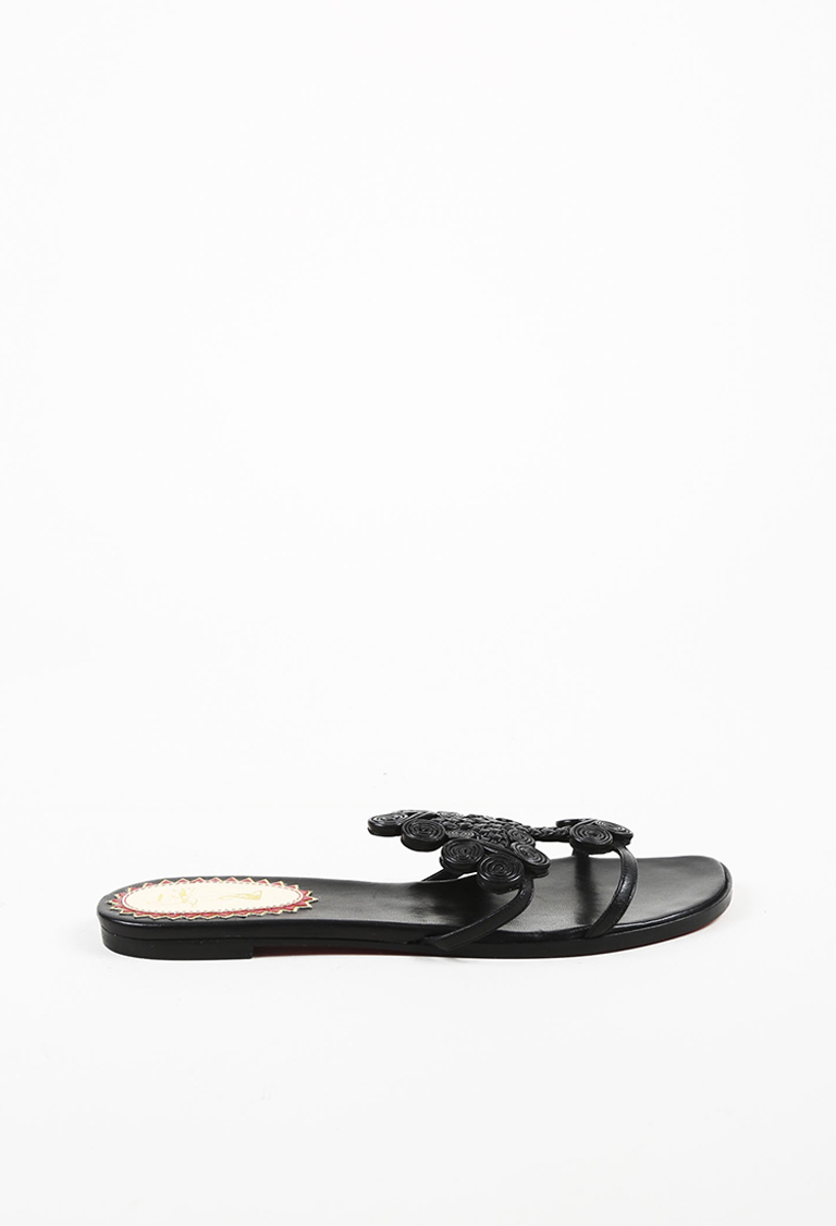 "Black ""Nappa"" Leather Open Toe ""Copte"" Slide Sandals"