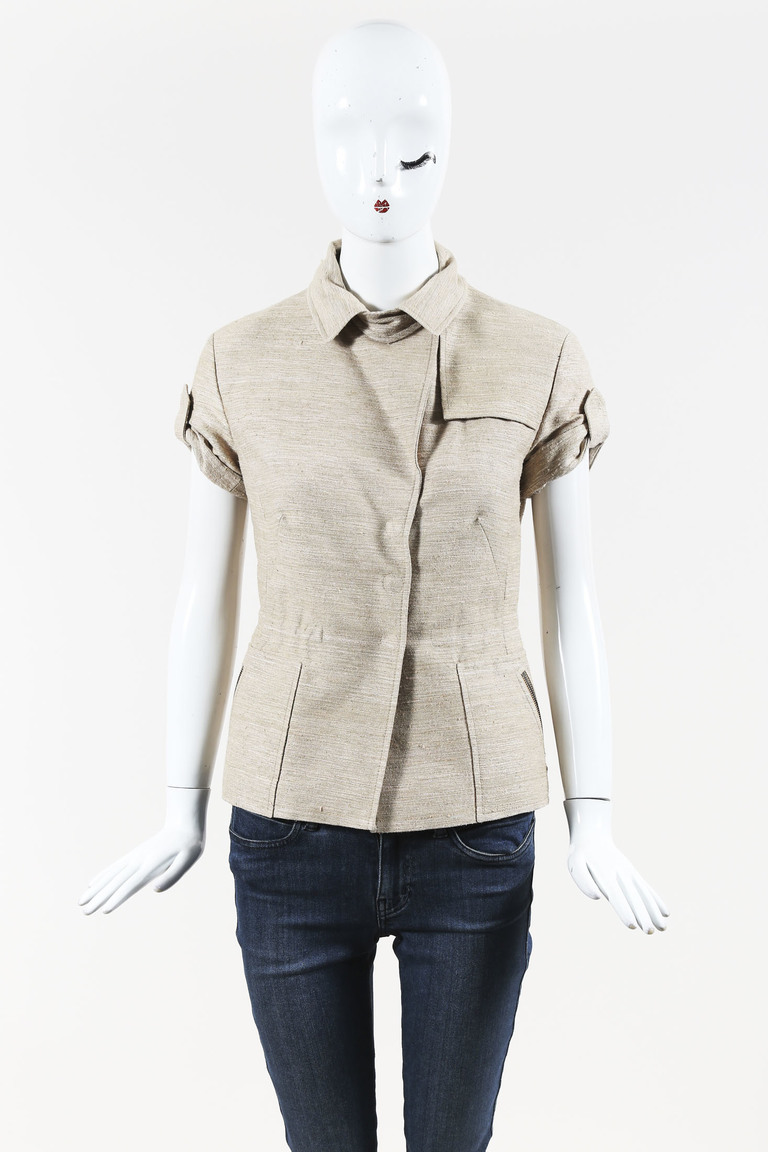 Beige Silk Blend Collared Short Sleeve Snap Front Jacket