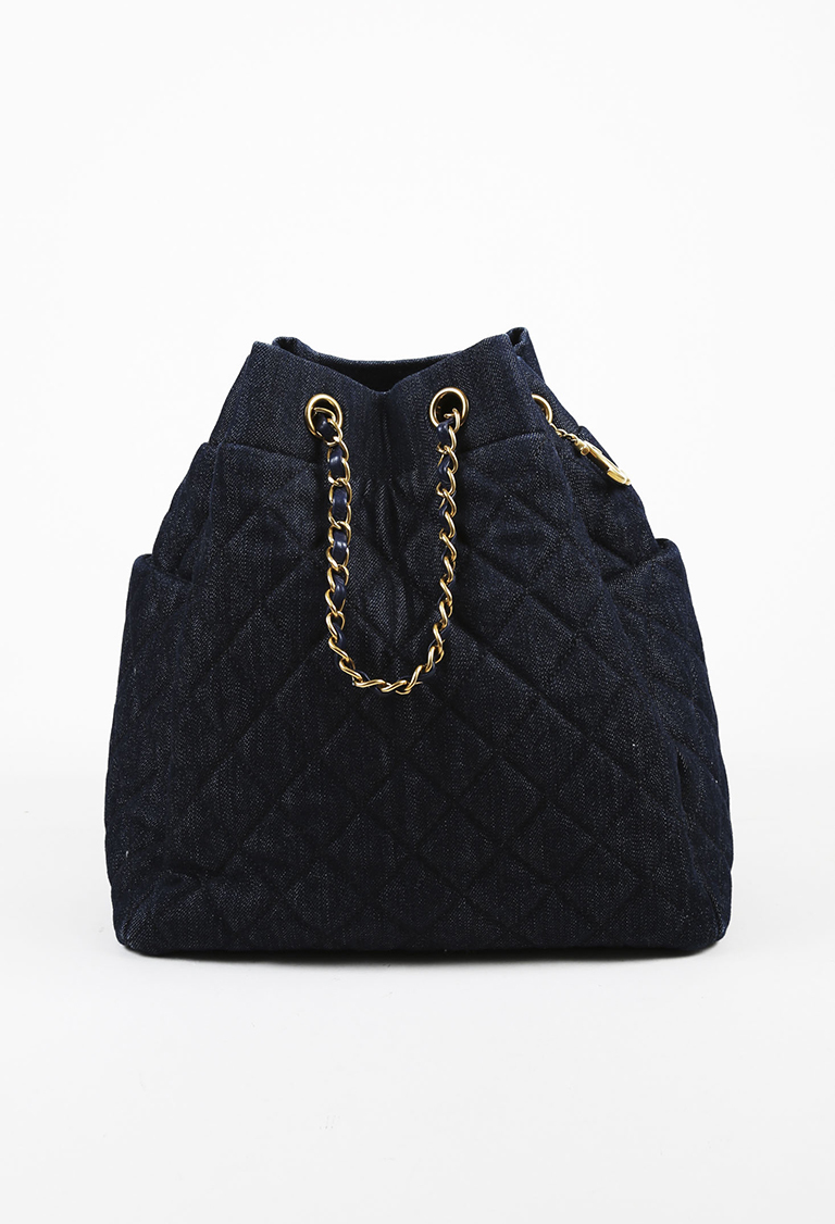 686d864e38 Chanel Blue Washed Denim   Leather Quilted Bucket Bag