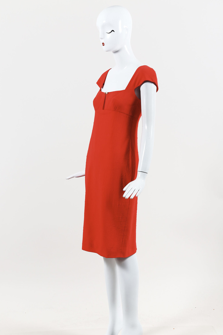 Gianni  Couture Red Textured Cap Sleeve Sheath Dress