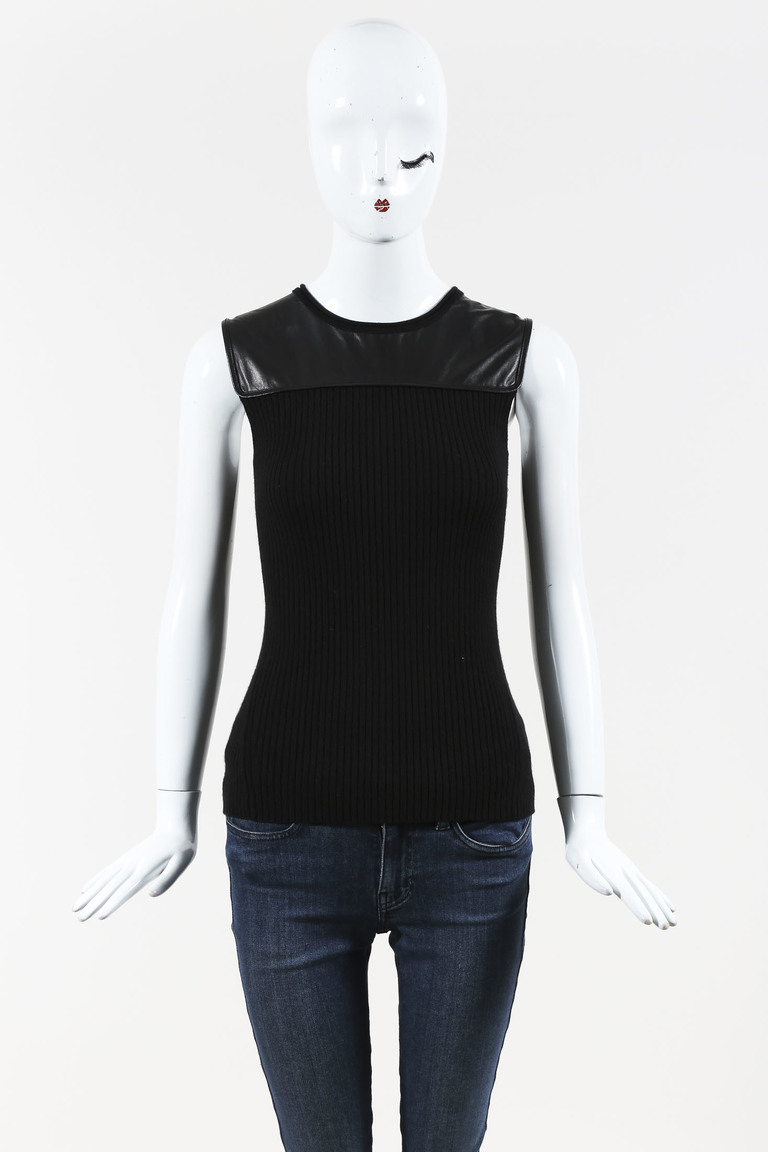 Black Cashmere Blend & Leather Ribbed Knit Sleeveless Top
