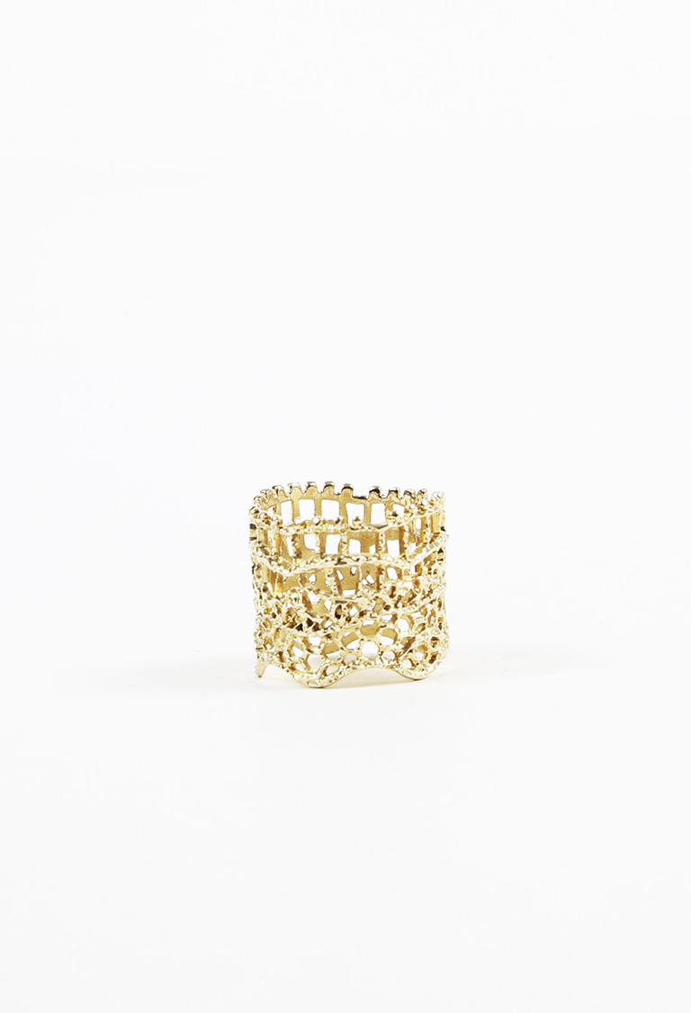 """18k Yellow Gold Dipped """"Vintage Lace"""" Stack Ring"""