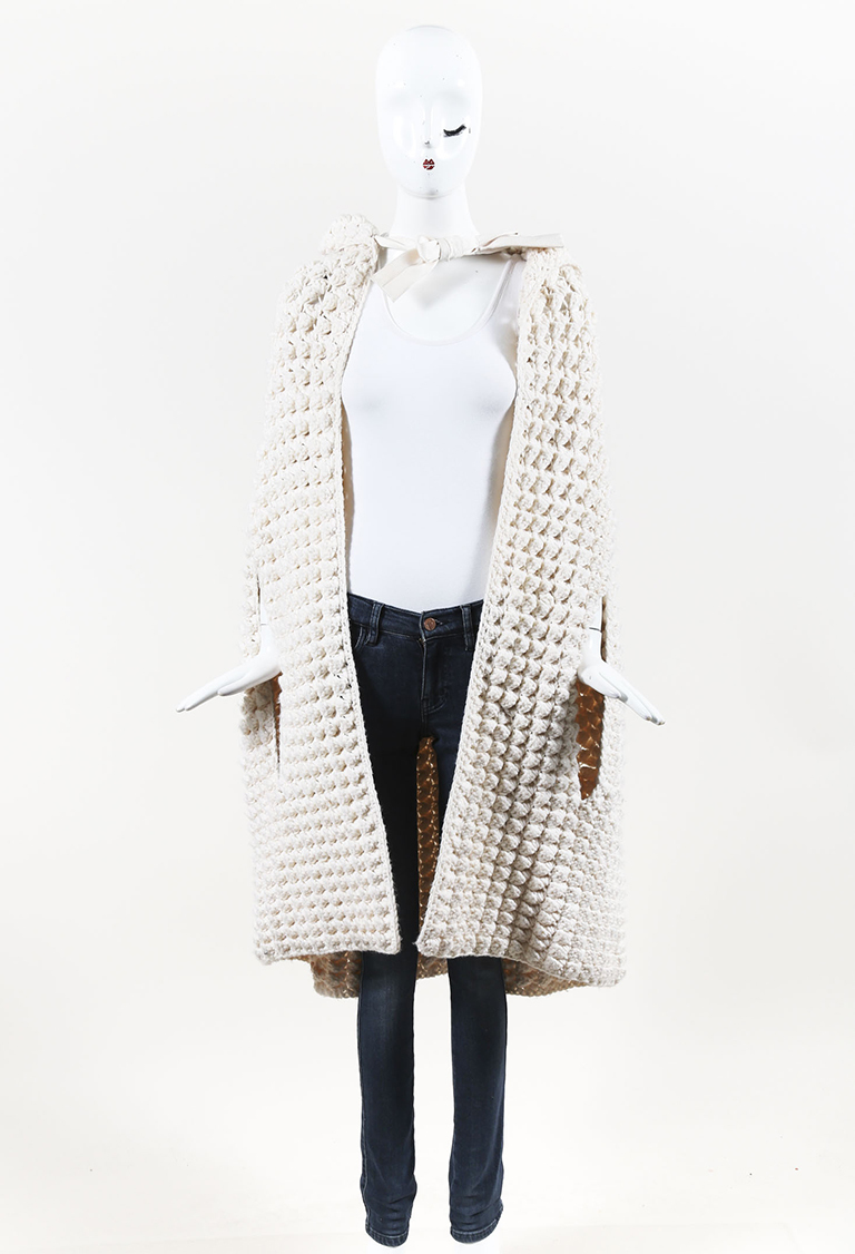 Cream Chunky Cable Knit Hooded Cape