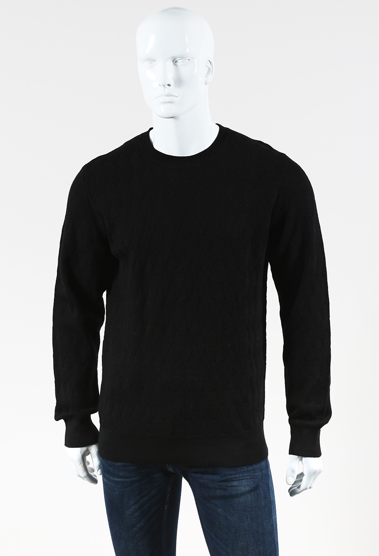"MENS  Black Wool Textured Knit ""Pavel"" Sweater XL"
