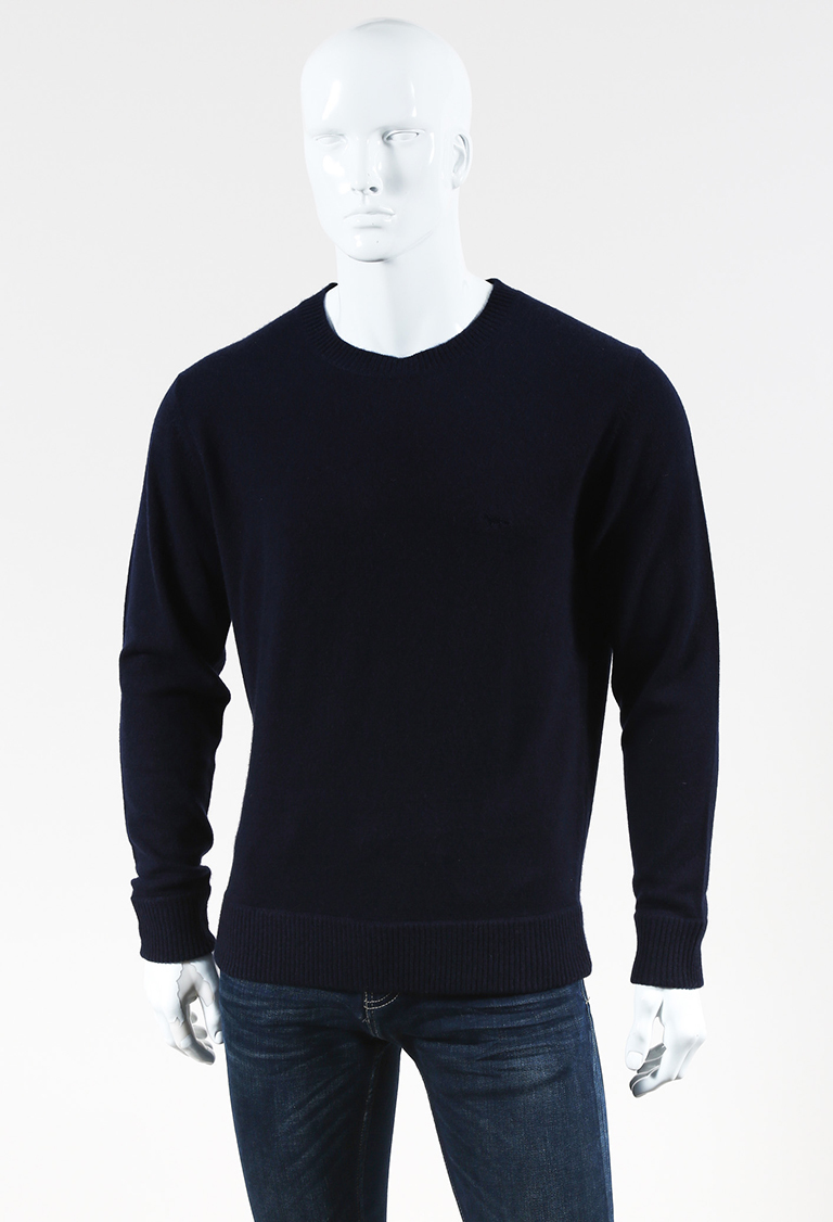 MENS  Blue Cashmere Fox Embroidered Pullover Sweater