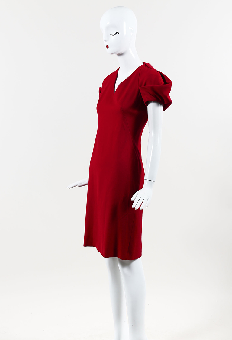 Red Wool Structured Cap Sleeve V Neck Dress