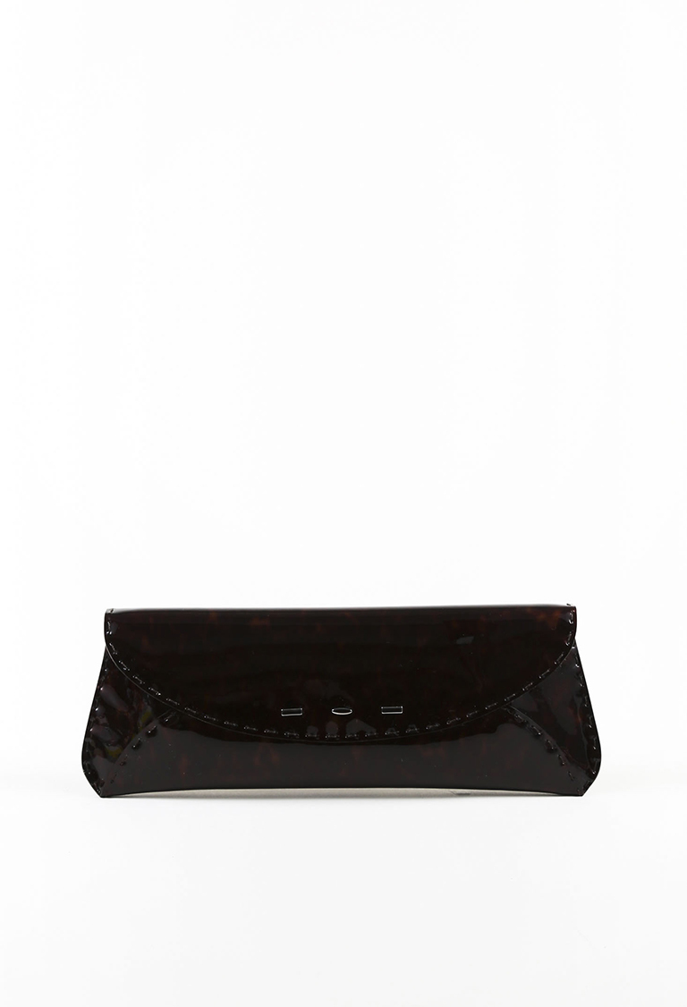 """Brown Patent Leather Tortoise Shell """"Martini"""" Clutch"""