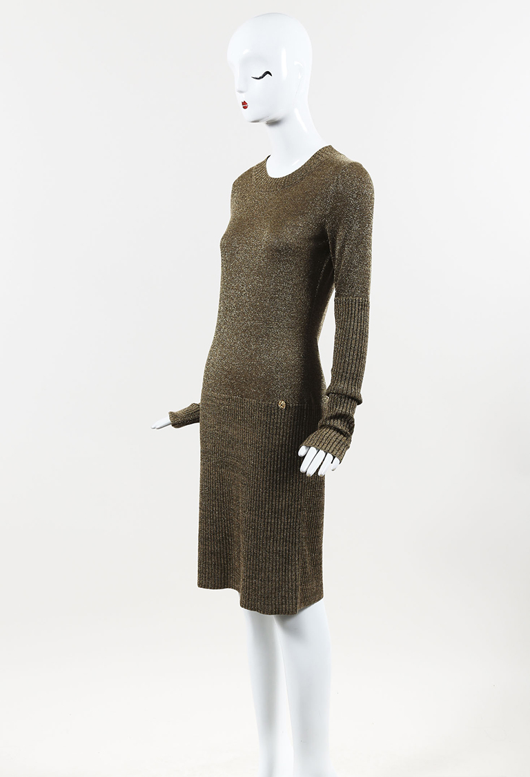 Fall 2009 Metallic Gold Wool Blend Knit Long Sleeve Midi Dress