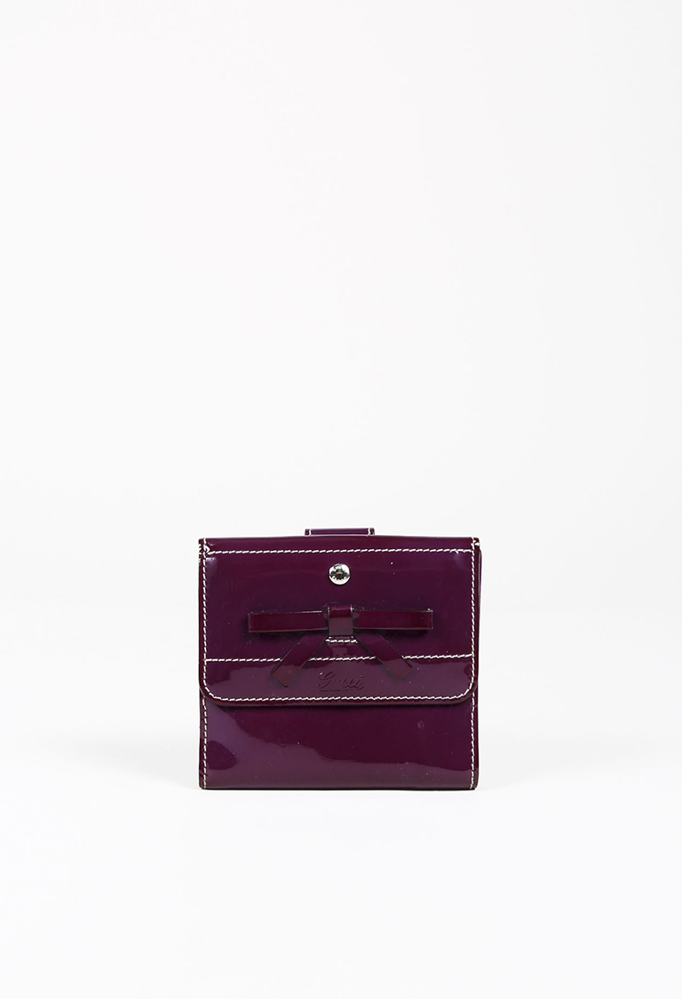 a687128420b Gucci. Accessory Collection Purple Patent Leather Bow Wallet