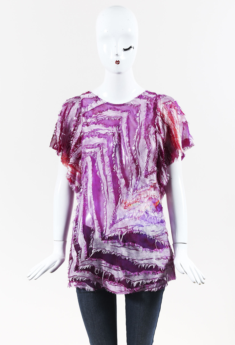 "Purple Multicolor Silk Blend Frayed ""Onara"" Top"