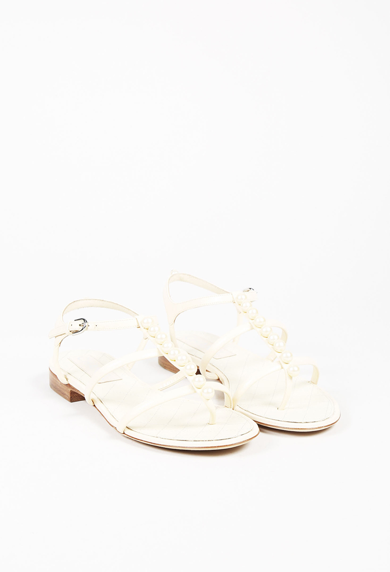 Cream Leather Faux Pearl Embellished Sandals