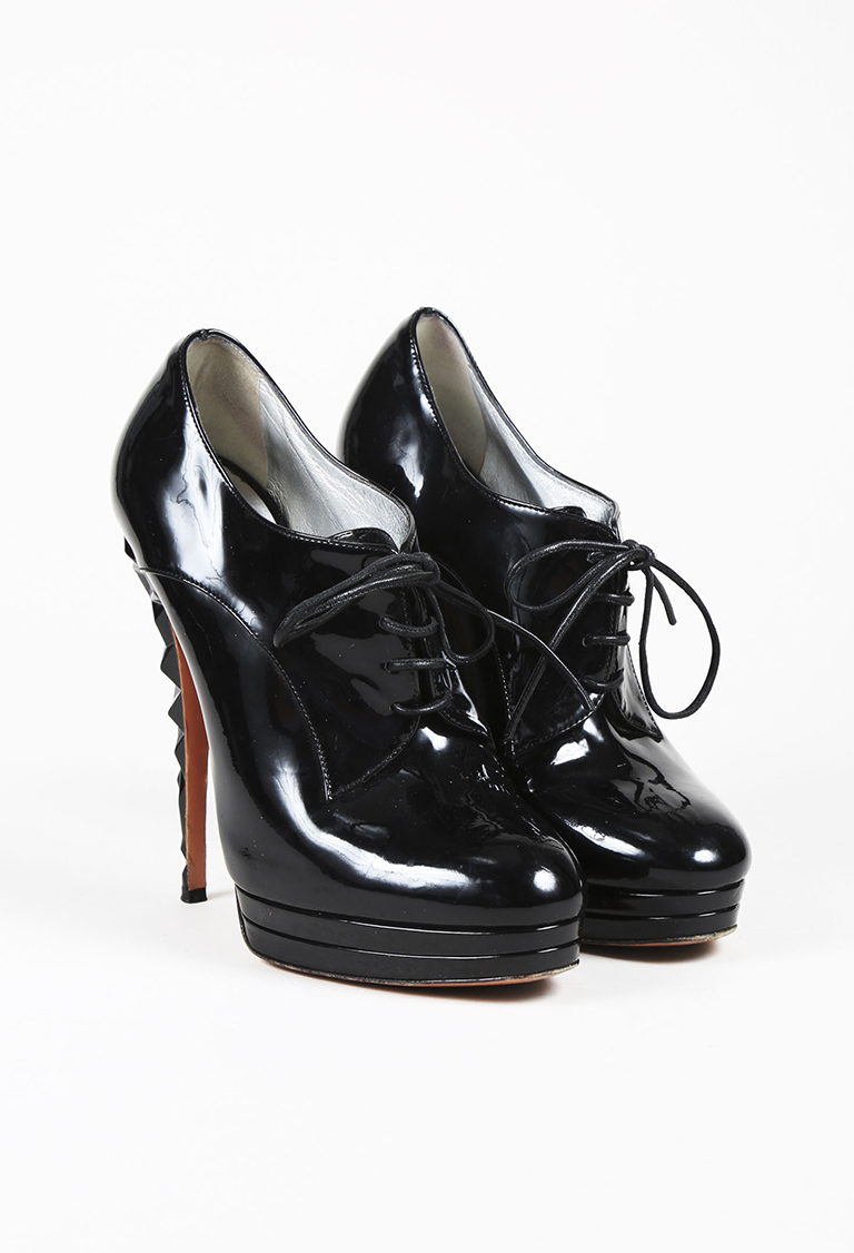Black Patent Leather Lace Up Platform Ankle Booties