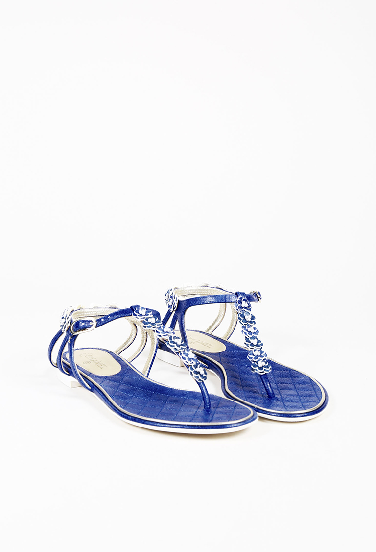 27550a57296 Chanel. Blue Leather Camellia Flower   Faux Pearl Thong Sandals
