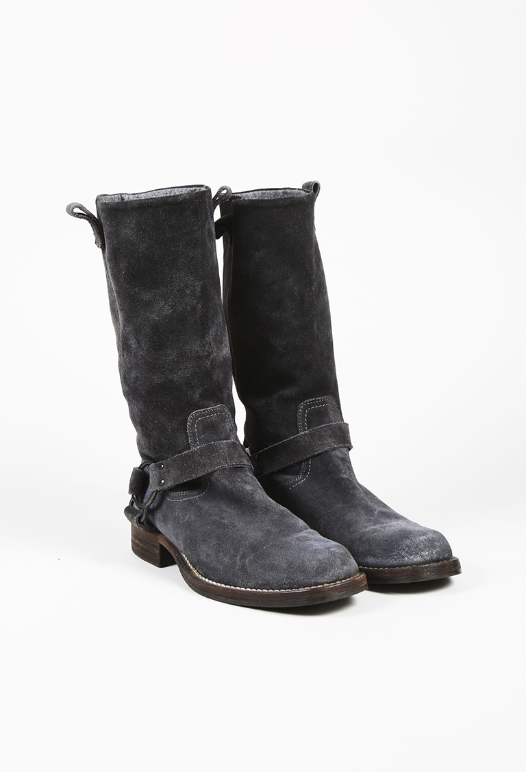 Gray Suede Harness Mid Calf Boots