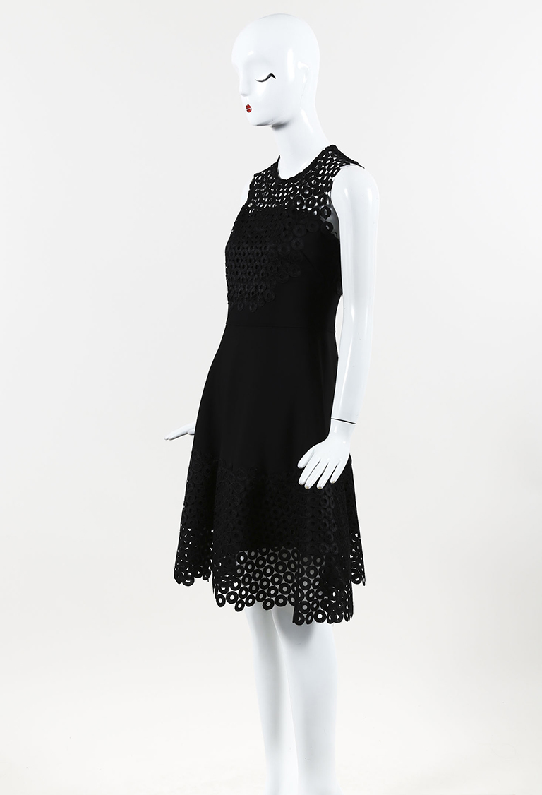 Black Knit Circle Embroidered Fit & Flare Dress