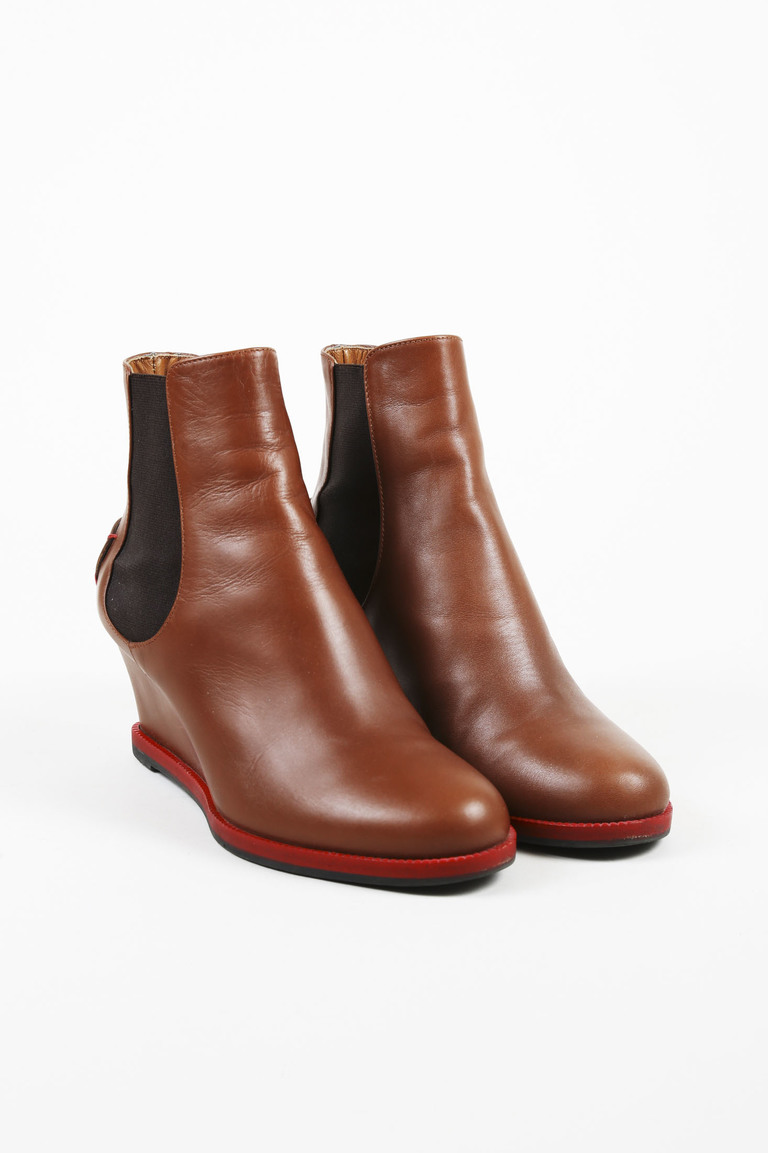 Brown Leather Chelsea Wedge Boots