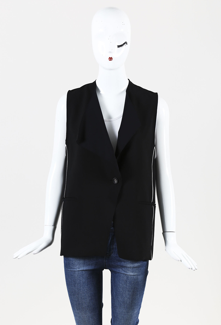 Black Single Button Vest