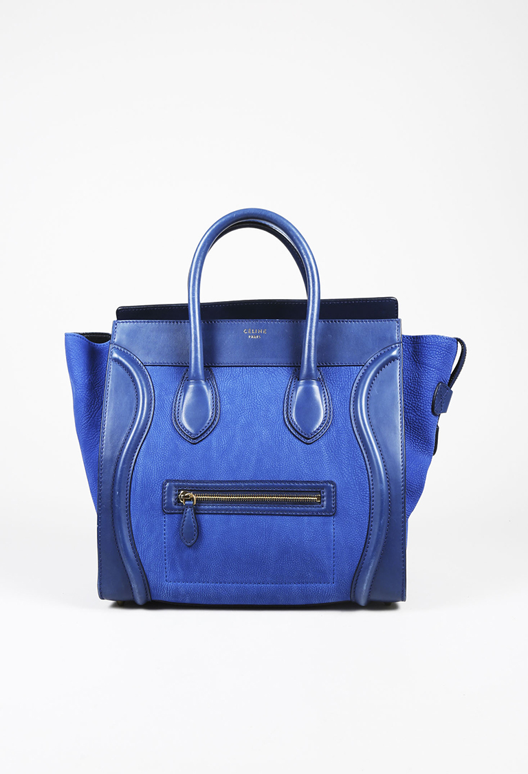 """Blue Grained Leather Top Handle """"Mini Luggage"""" Tote Bag"""