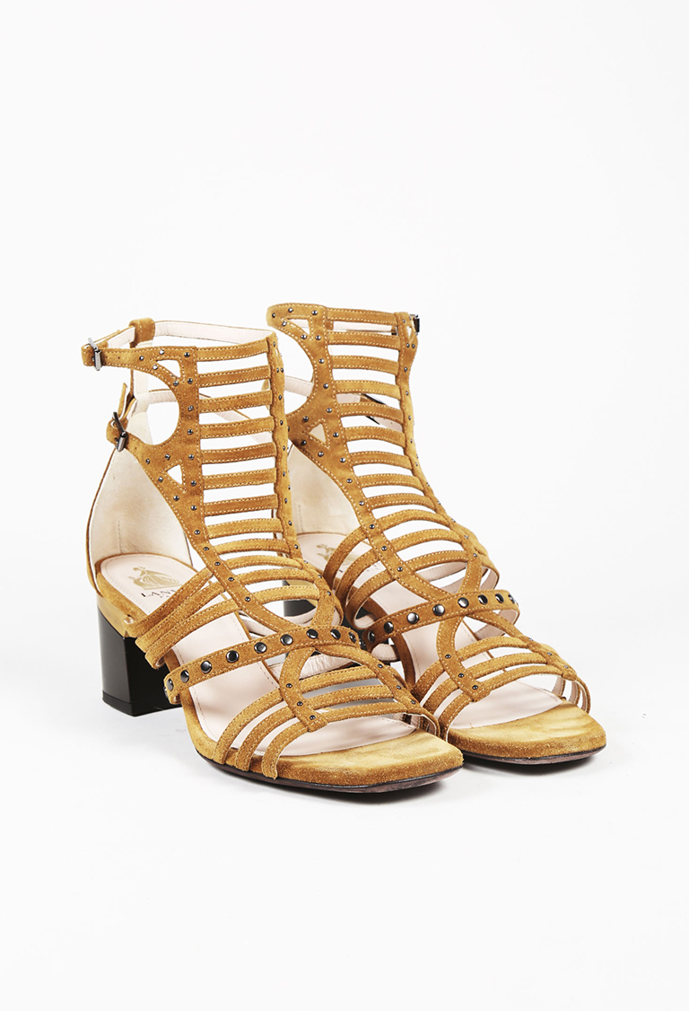 226ca48f447 Lanvin Brown Suede Studded Caged Sandals