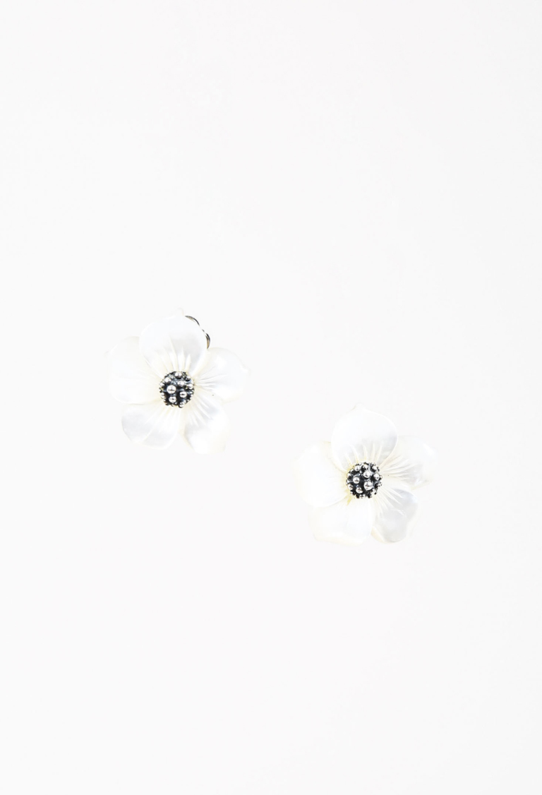 Cream Mother of Pearl & Sterling Silver Clip On Flower Earrings