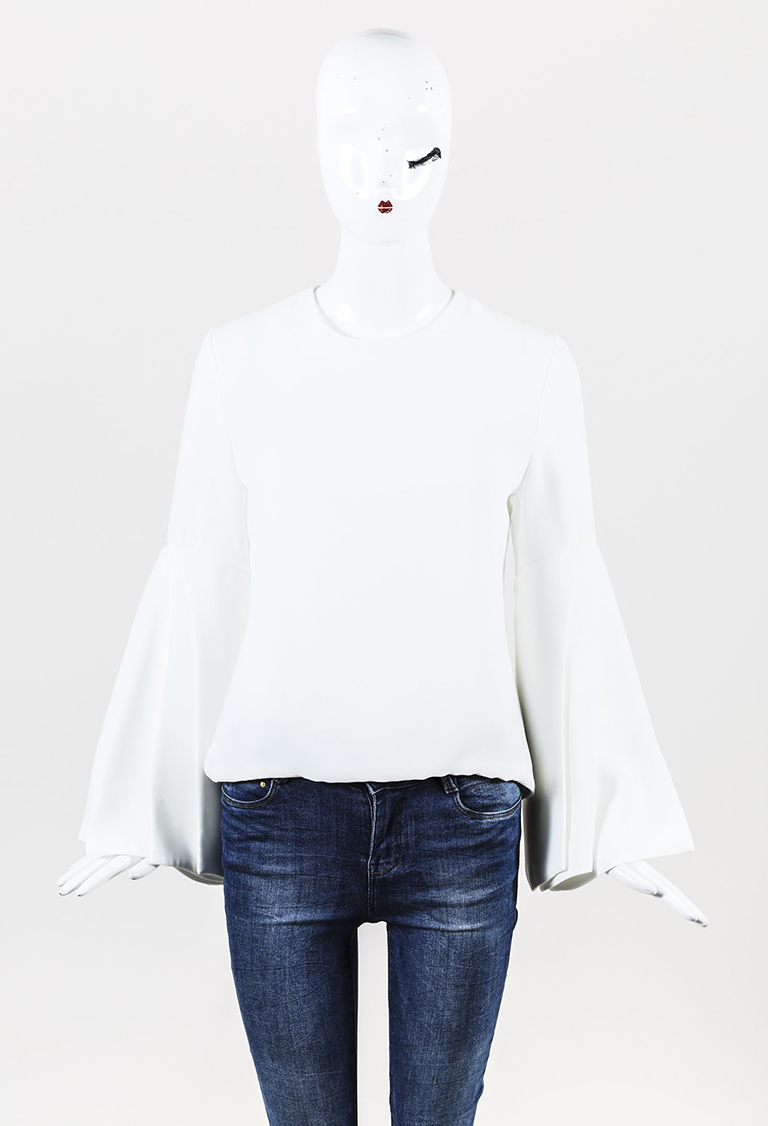 White Cady Pleated Sleeve Top