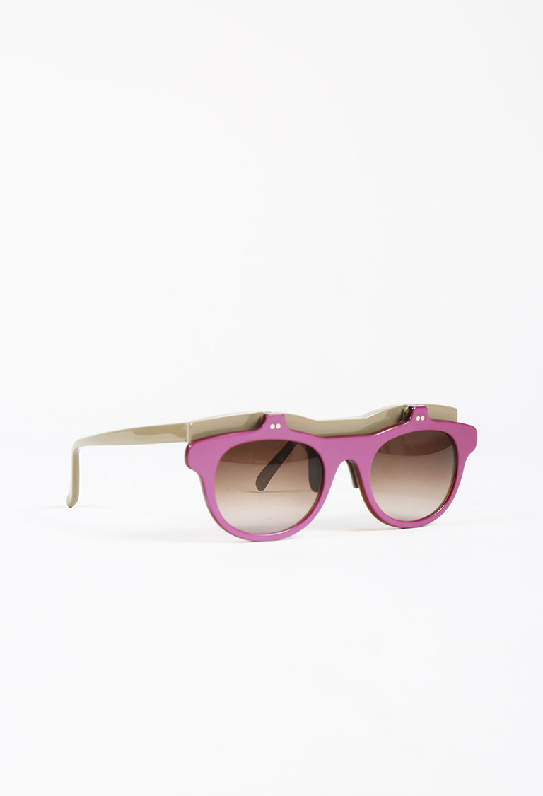Purple & Taupe Gray Acetate Flip Up Sunglasses