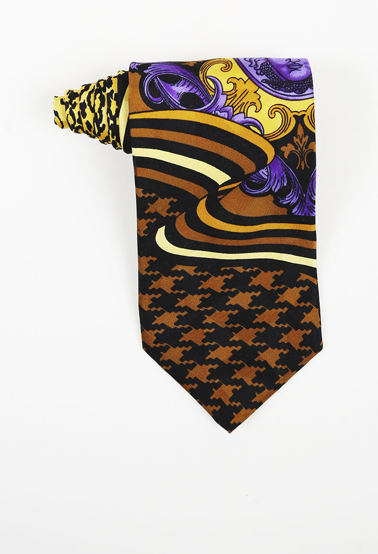 MENS Gianni  Yellow Multicolor Silk Mixed Print Tie