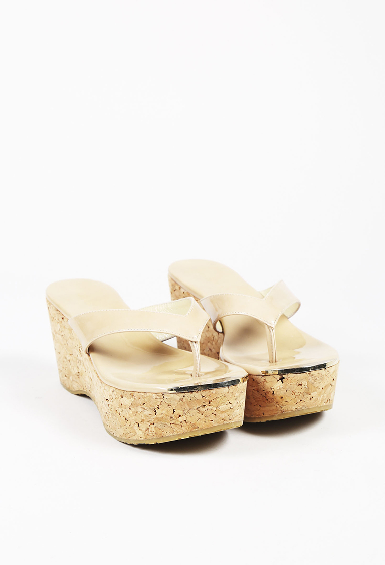 """Nude Patent Leather Cork Wedge """"Pathos"""" Sandals"""