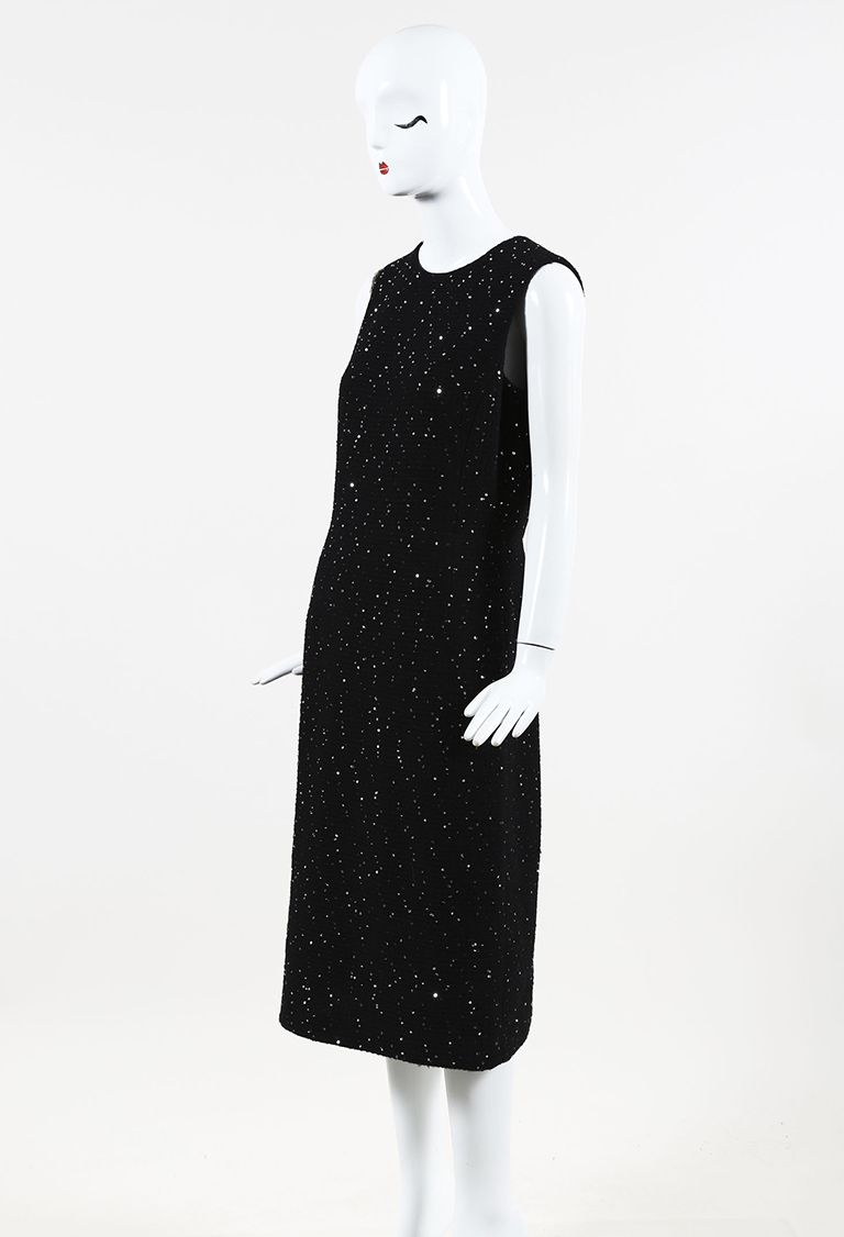 Black Wool Blend Sequined Sheath Dress
