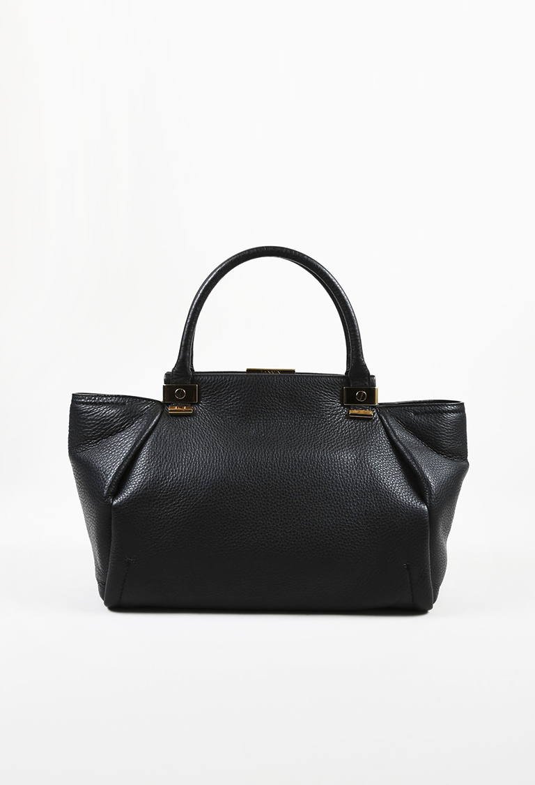 "Black Pebbled Calfskin Leather ""Trilogy"" Shoulder Bag"