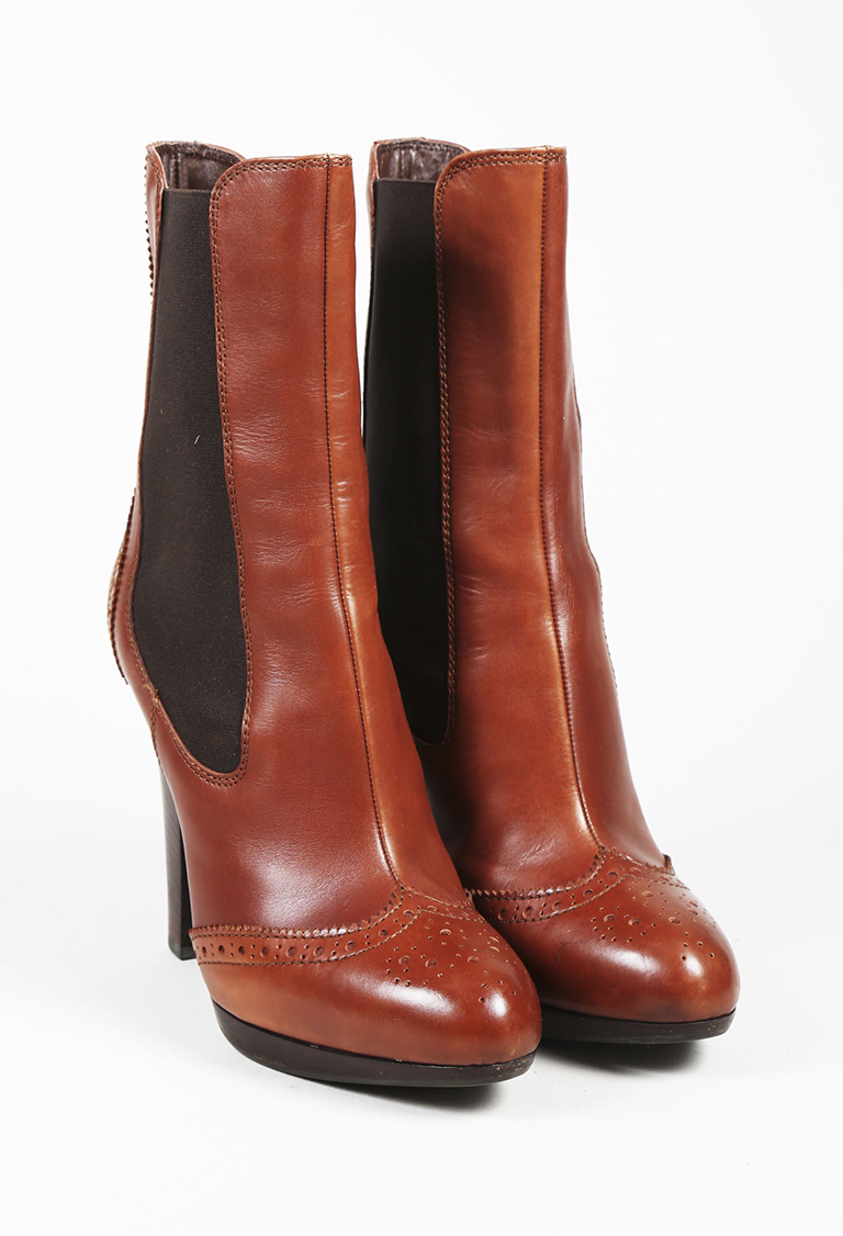 Brown Leather Brogue Ankle Boots