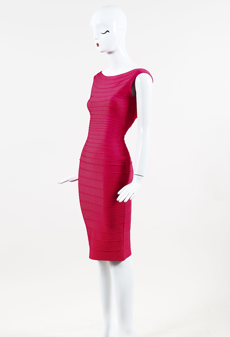 """Rose"" Red Bandage Knit ""Ardell"" Bodycon Sleeveless Midi Dress"