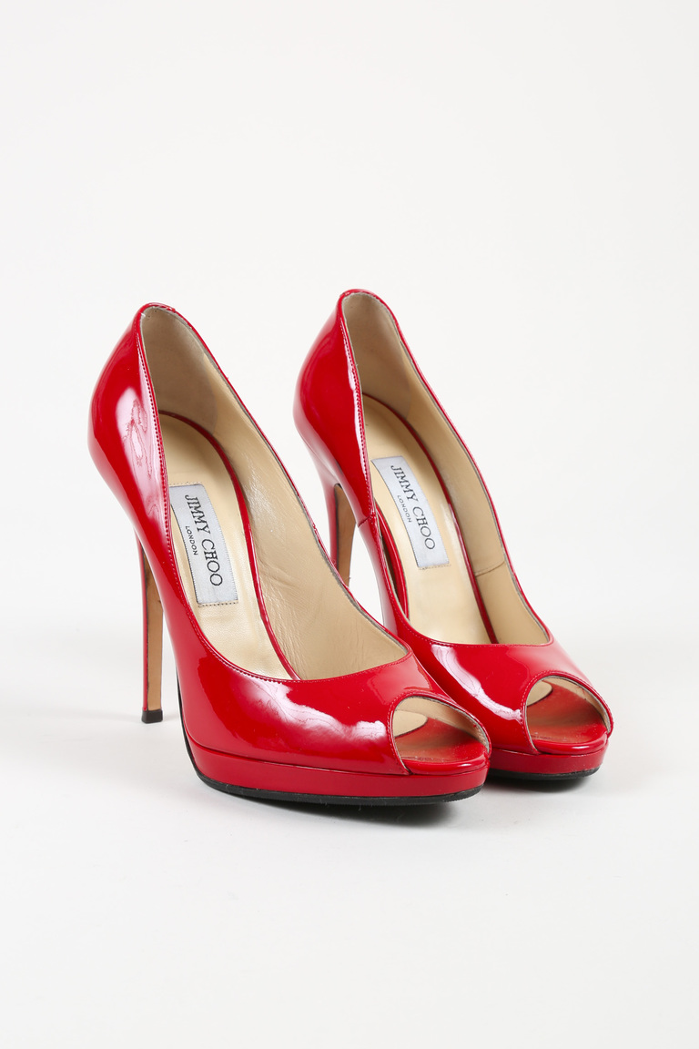 Red Patent Leather Peep Toe High Heel Pumps