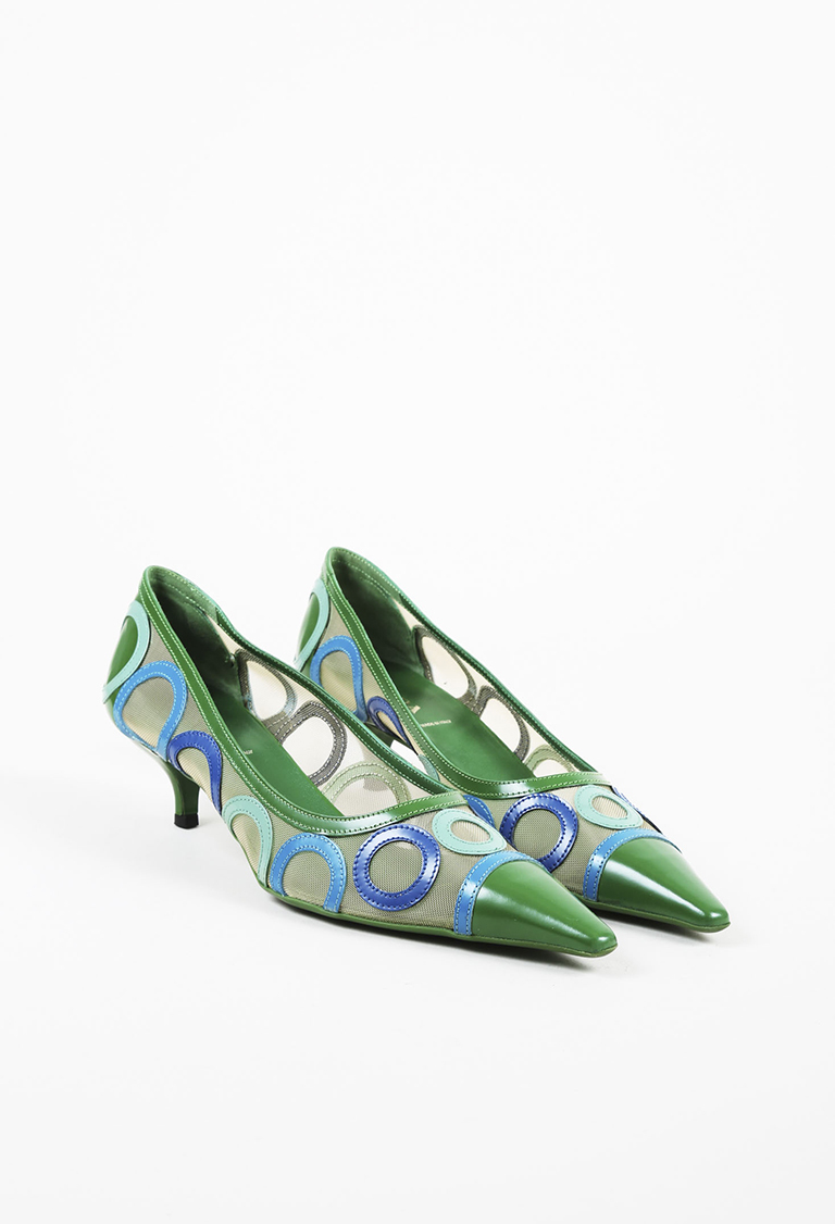 Green Blue Leather & Mesh Circle Patterned Pumps