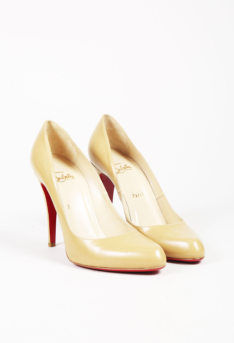 """Beige Leather """"Simple"""" Pumps"""