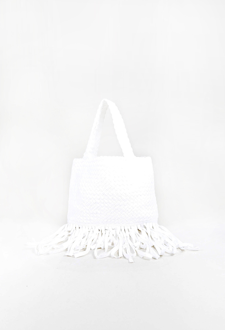 White Woven Cotton Fringe Trimmed Tote