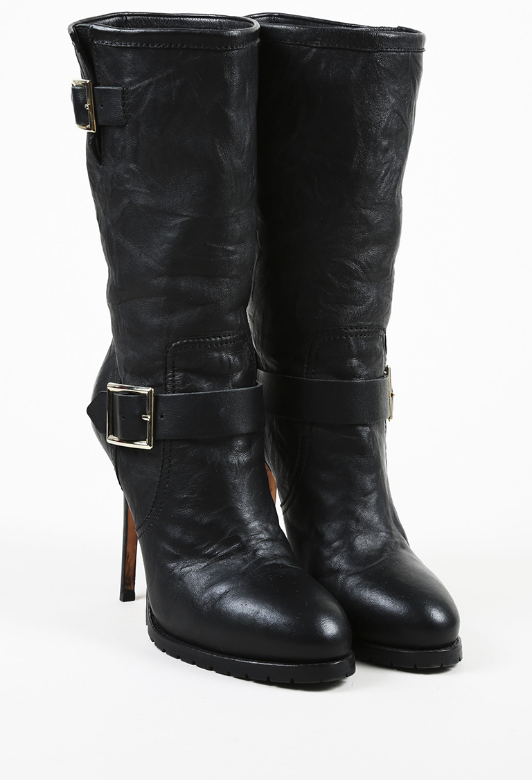 Black Leather Buckled Mid Calf High Heel Boots