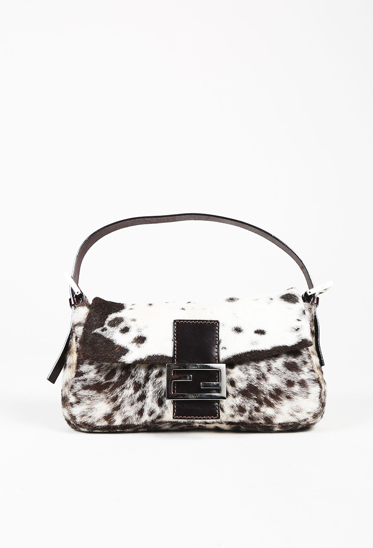 """Brown & White Pony Hair & Leather """"Baguette"""" Bag"""