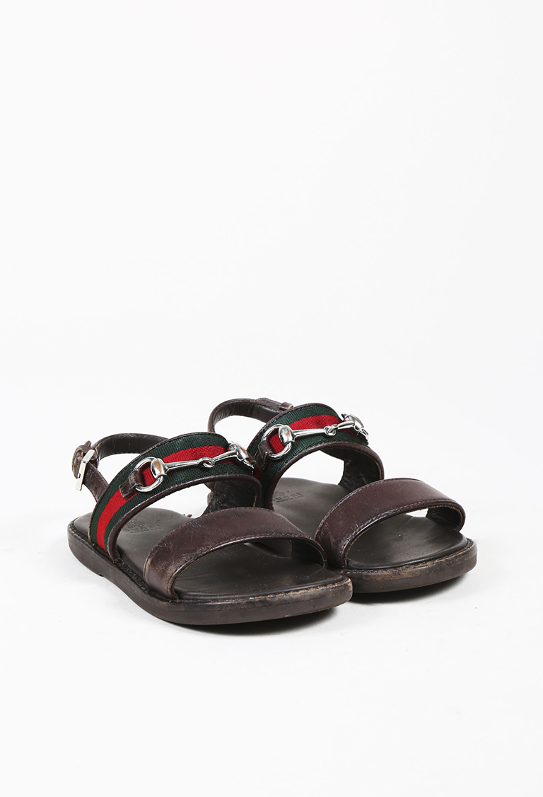 Dark Brown Leather Web Stripe Open Toe Sandals