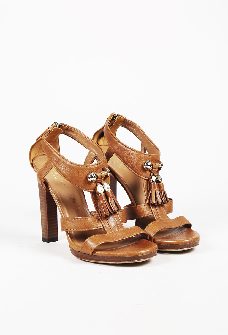 Brown Leather Tasseled Sandals