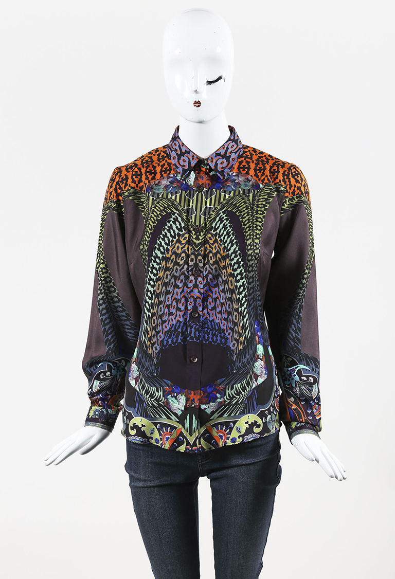 Brown Multicolor Silk Printed Long Sleeve Button Up Blouse
